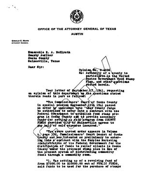 Primary view of object titled 'Texas Attorney General Opinion: O-4006'.