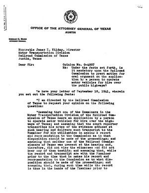Primary view of object titled 'Texas Attorney General Opinion: O-4007'.