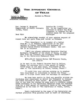 Primary view of object titled 'Texas Attorney General Opinion: O-4013'.