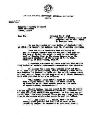 Primary view of object titled 'Texas Attorney General Opinion: O-4016'.