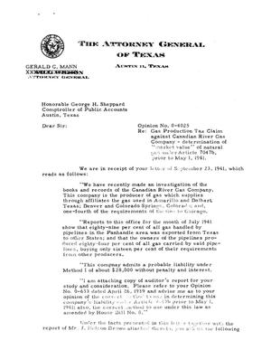 Primary view of object titled 'Texas Attorney General Opinion: O-4025'.