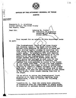 Primary view of object titled 'Texas Attorney General Opinion: O-4042'.
