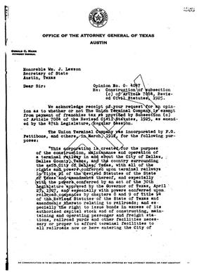 Primary view of object titled 'Texas Attorney General Opinion: O-4047'.