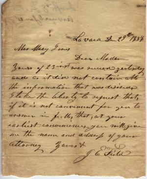 Primary view of object titled 'Letter to Mary Jones, 29 December 1858'.