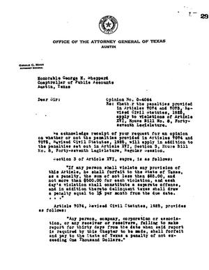 Primary view of object titled 'Texas Attorney General Opinion: O-4064'.