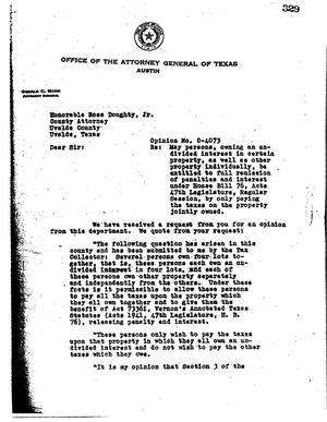 Primary view of object titled 'Texas Attorney General Opinion: O-4073'.