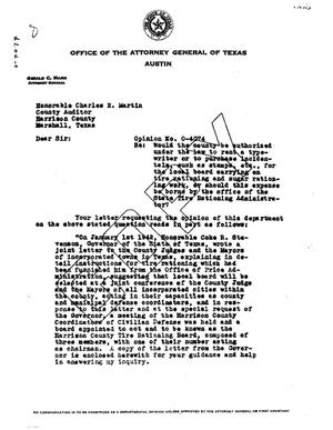 Primary view of object titled 'Texas Attorney General Opinion: O-4074'.