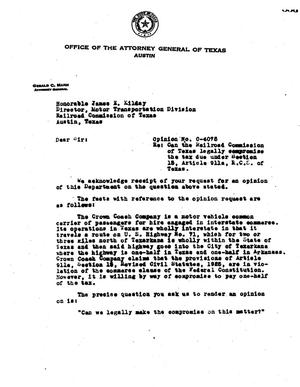 Primary view of object titled 'Texas Attorney General Opinion: O-4075'.
