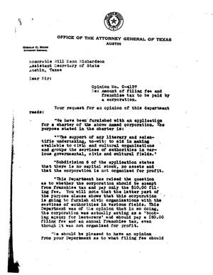 Primary view of object titled 'Texas Attorney General Opinion: O-4137'.