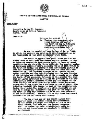 Primary view of object titled 'Texas Attorney General Opinion: O-4142'.