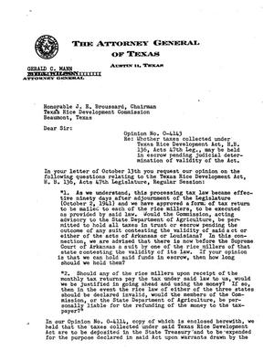 Primary view of object titled 'Texas Attorney General Opinion: O-4143'.