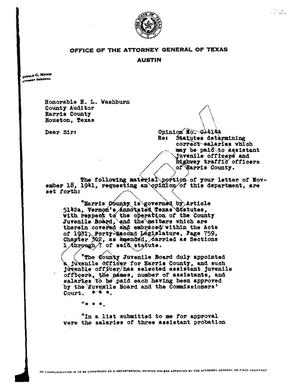 Primary view of object titled 'Texas Attorney General Opinion: O-4144'.