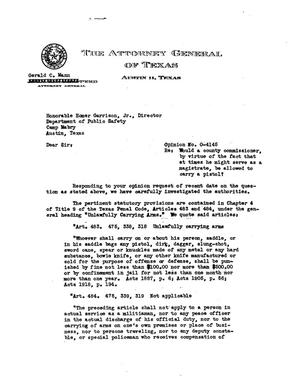 Primary view of object titled 'Texas Attorney General Opinion: O-4145'.