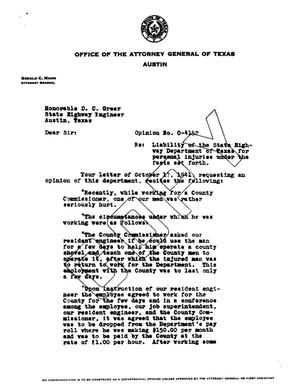 Primary view of object titled 'Texas Attorney General Opinion: O-4152'.