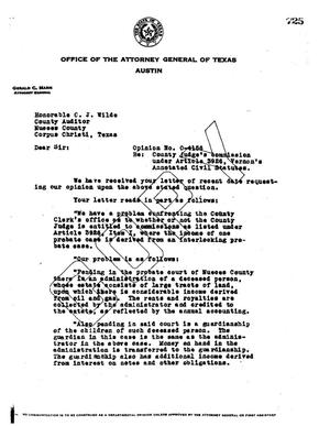 Primary view of object titled 'Texas Attorney General Opinion: O-4156'.
