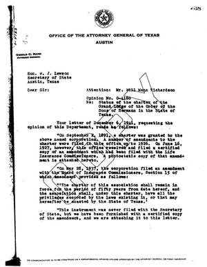 Primary view of object titled 'Texas Attorney General Opinion: O-4160'.