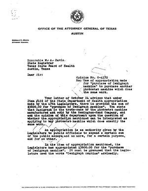 Primary view of object titled 'Texas Attorney General Opinion: O-4172'.