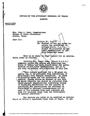 Primary view of object titled 'Texas Attorney General Opinion: O-4177'.