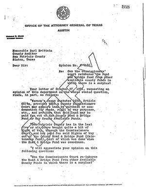 Primary view of object titled 'Texas Attorney General Opinion: O-4186'.