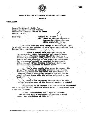 Primary view of object titled 'Texas Attorney General Opinion: O-4187'.
