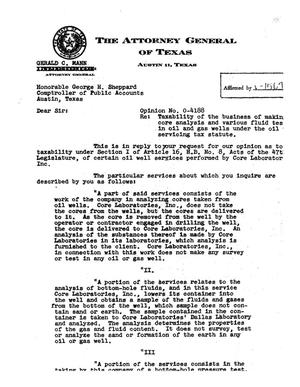Primary view of object titled 'Texas Attorney General Opinion: O-4188'.