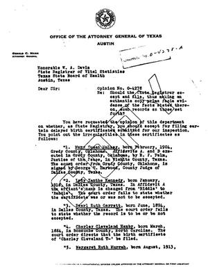 Primary view of object titled 'Texas Attorney General Opinion: O-4278'.