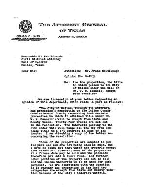 Primary view of object titled 'Texas Attorney General Opinion: O-4285'.