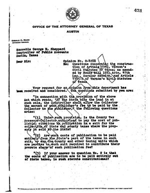 Primary view of object titled 'Texas Attorney General Opinion: O-4288'.