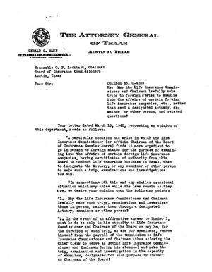 Primary view of object titled 'Texas Attorney General Opinion: O-4289'.