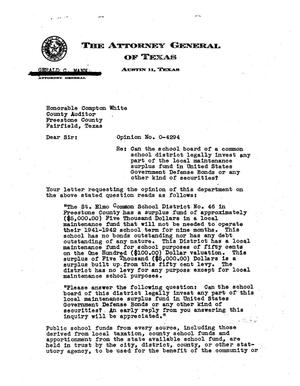 Primary view of object titled 'Texas Attorney General Opinion: O-4294'.