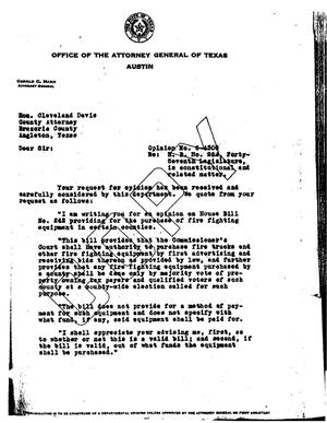 Primary view of object titled 'Texas Attorney General Opinion: O-4300'.