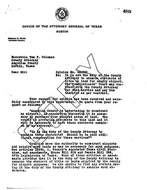 Primary view of object titled 'Texas Attorney General Opinion: O-4301'.
