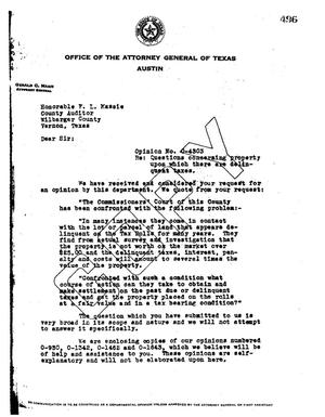 Primary view of object titled 'Texas Attorney General Opinion: O-4303'.