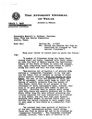 Primary view of object titled 'Texas Attorney General Opinion: O-4307'.