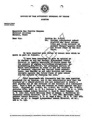 Primary view of object titled 'Texas Attorney General Opinion: O-4316'.