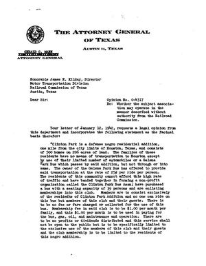 Primary view of object titled 'Texas Attorney General Opinion: O-4317'.