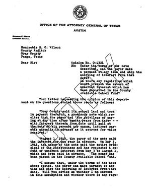 Primary view of object titled 'Texas Attorney General Opinion: O-4321'.