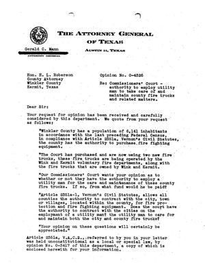 Primary view of object titled 'Texas Attorney General Opinion: O-4326'.