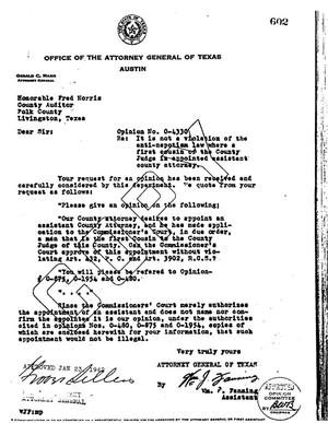 Primary view of object titled 'Texas Attorney General Opinion: O-4330'.