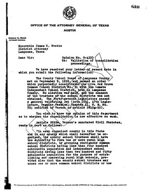 Primary view of object titled 'Texas Attorney General Opinion: O-4333'.