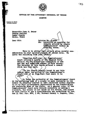 Primary view of object titled 'Texas Attorney General Opinion: O-4334'.