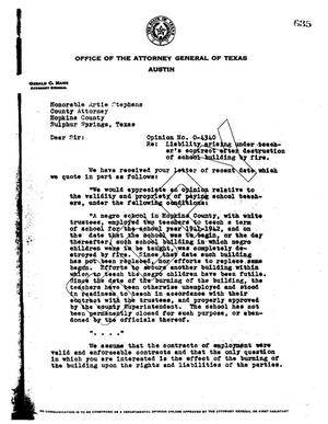 Primary view of object titled 'Texas Attorney General Opinion: O-4340'.