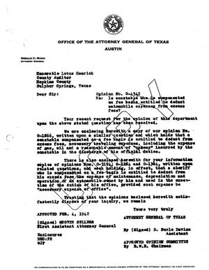 Primary view of object titled 'Texas Attorney General Opinion: O-4342'.