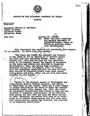 Primary view of object titled 'Texas Attorney General Opinion: O-4348'.