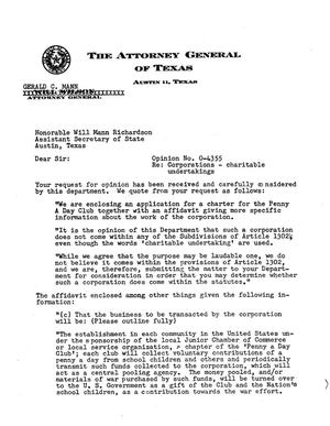 Primary view of object titled 'Texas Attorney General Opinion: O-4355'.
