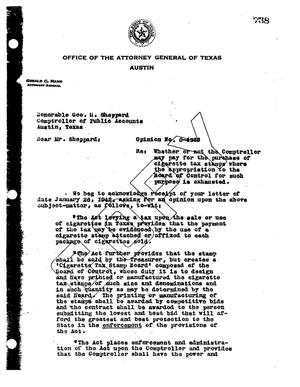 Primary view of object titled 'Texas Attorney General Opinion: O-4366'.