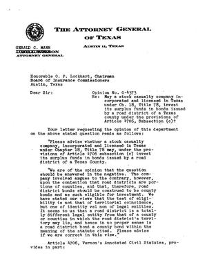 Primary view of object titled 'Texas Attorney General Opinion: O-4373'.