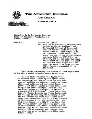 Primary view of object titled 'Texas Attorney General Opinion: O-4374'.