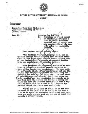 Primary view of object titled 'Texas Attorney General Opinion: O-4376'.