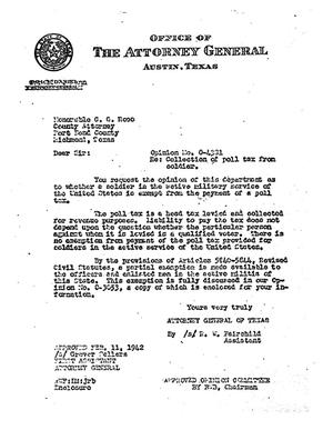 Primary view of object titled 'Texas Attorney General Opinion: O-4381'.